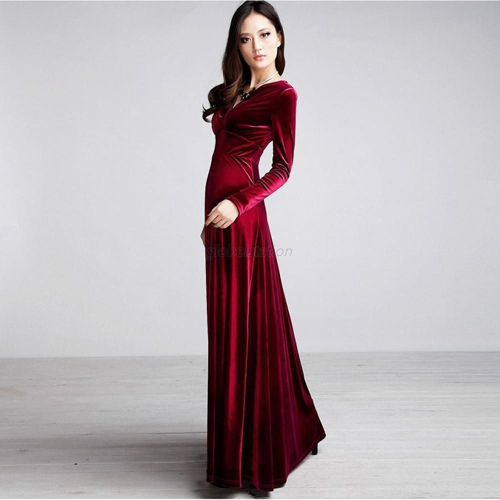 Sexy womens v neck velvet long evening formal cocktail dress party