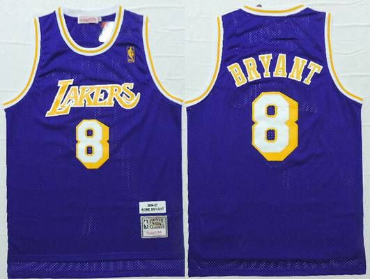 7b4a942ccab Men s Los Angeles Lakers  8 Kobe Bryant 1996-97 Purple Hardwood Classics  Soul Swingman Throwback Jersey