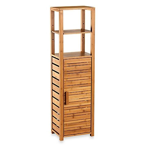 Bamboo Tall Floor Cabinet Shelves Storage And Doors
