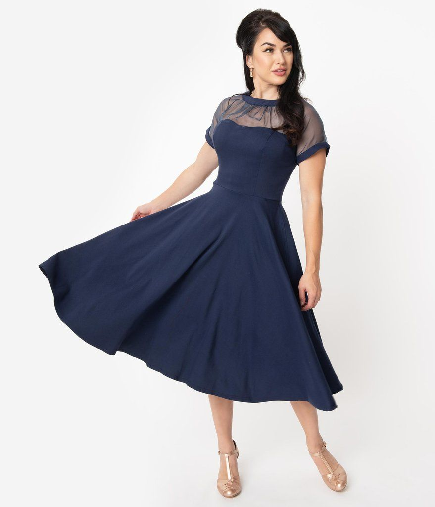 Unique Vintage 1950s Navy Blue Shirelle Swing Dress 1950s Cocktail Dress Blue Dress Outfits Summer Dress Outfits Casual
