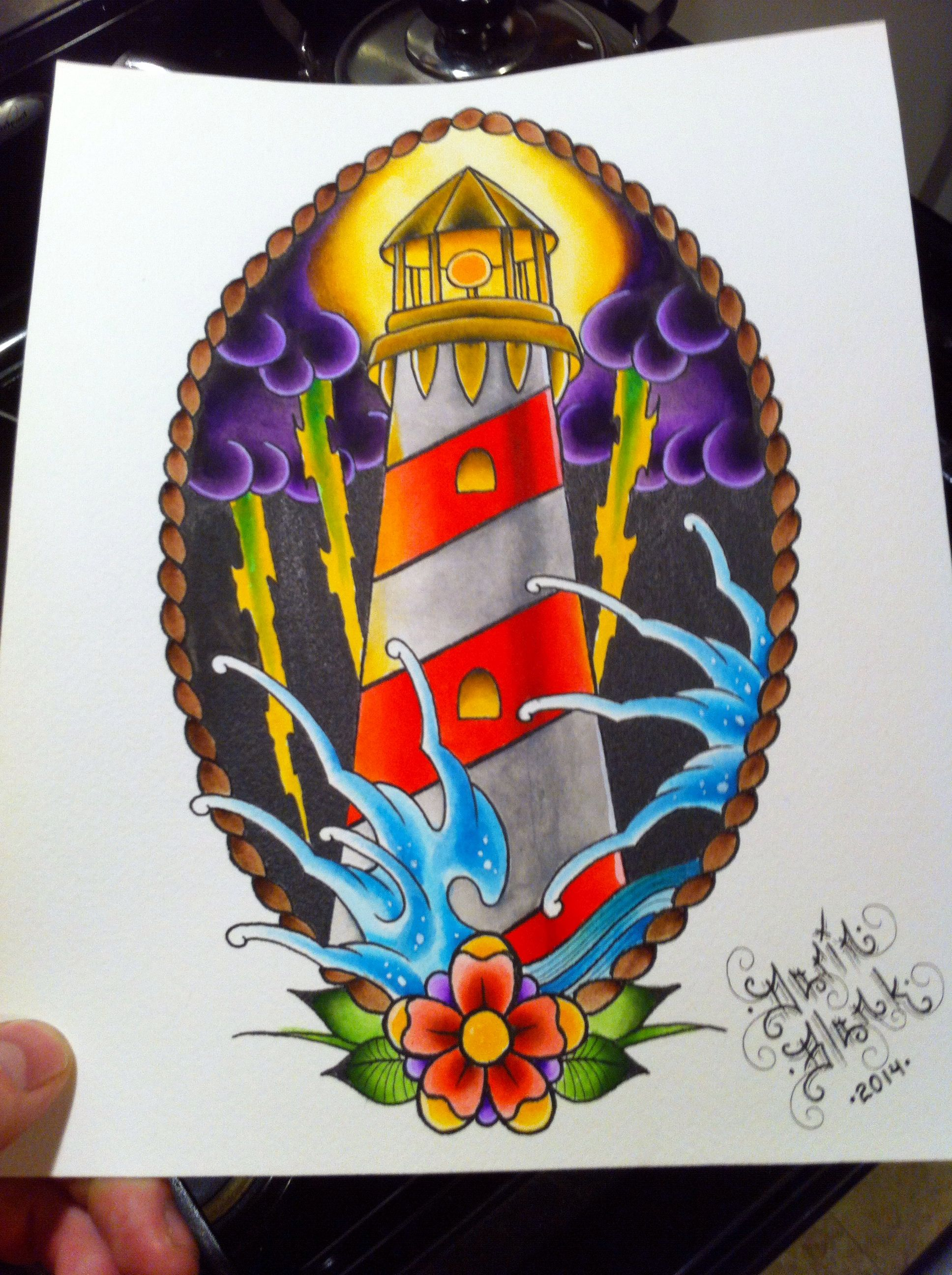Lighthouse American Traditional Tattoo: Traditional Lighthouse Tattoo Flash By Darin Blank