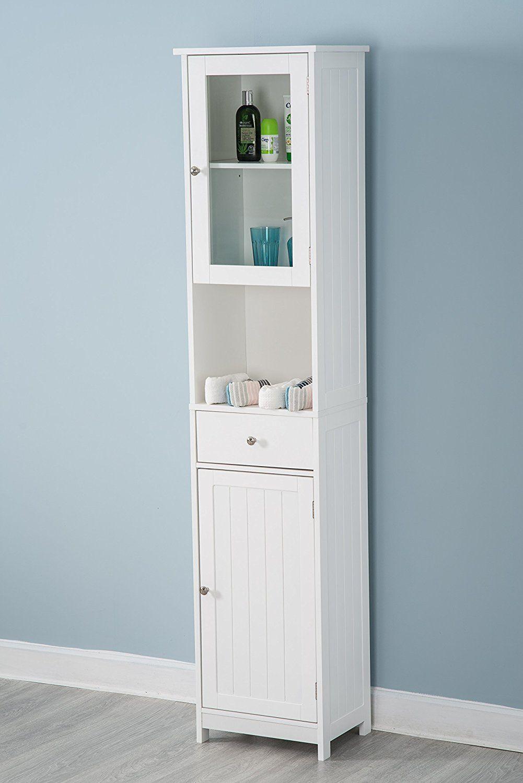 YAKOE Tall Bathroom Storage Unit Tallboy Cabinet Cupboard, Wood ...