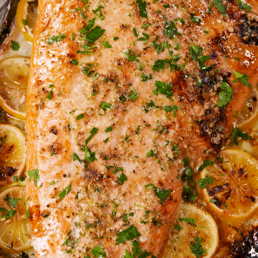 Baked Garlic-Butter Salmon #seafooddishes