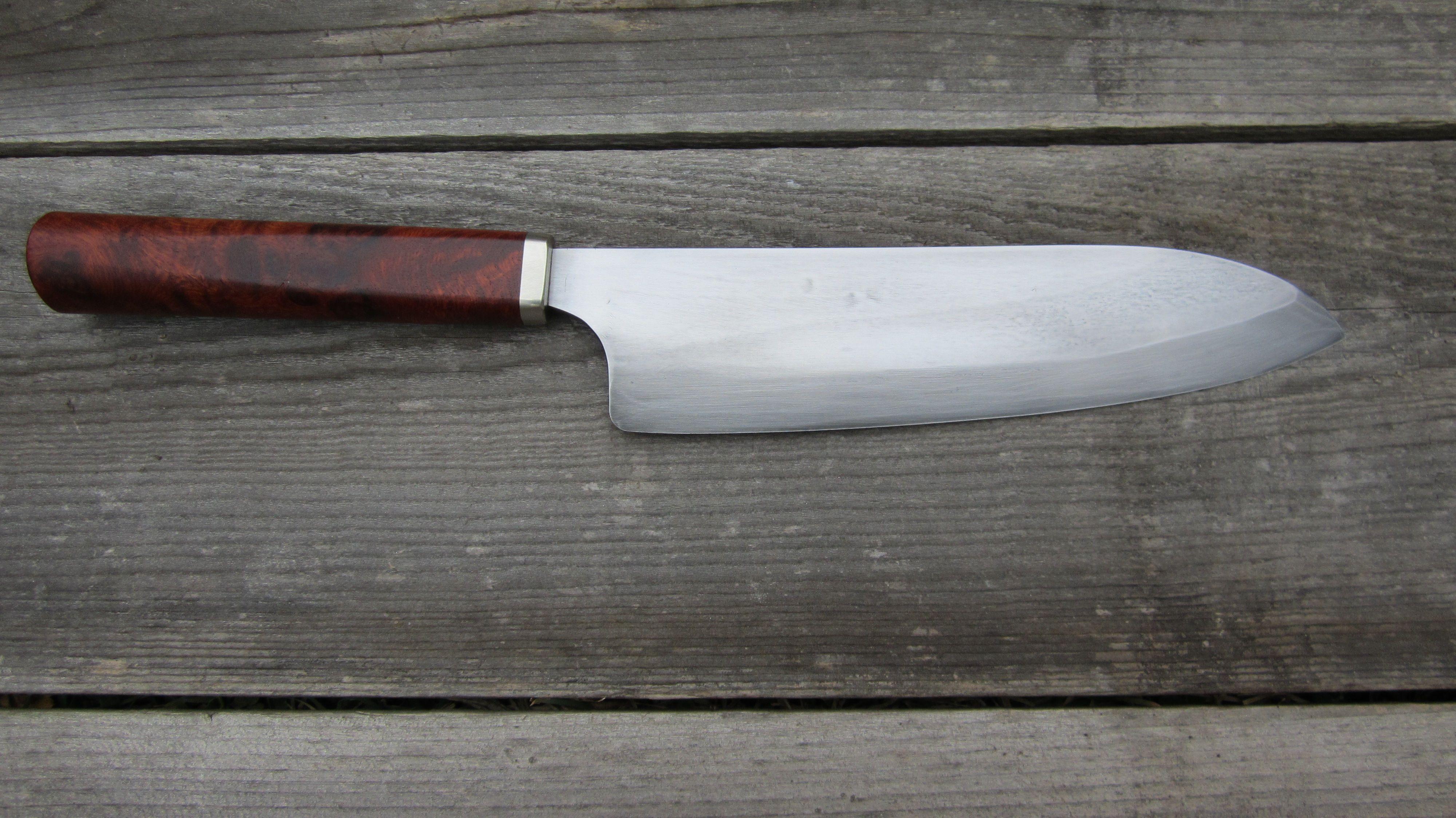 Santoku knife w/ Amboyna Burl handle.