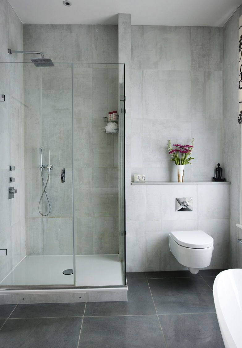 Grey Floor White Walls Grey Flooring Ensuite Bathrooms Ensuite Bathroom