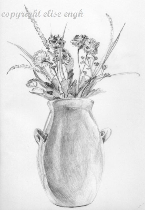 Easy Pencil Drawings Of Flowers And Vines In A Vase