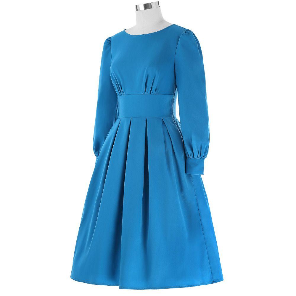retro dress women autumn solid sky blue o neck pleated sleeve