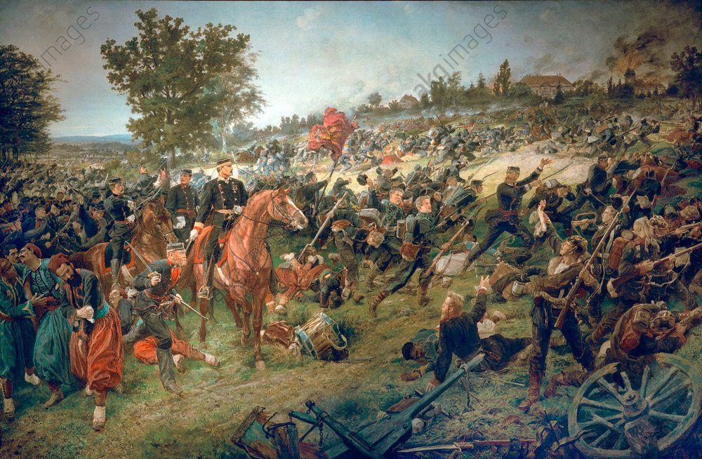 "Franco-Prussian War 1870/71: Battle of Woerth (Alsace), 6th August 1870.  ""Wuerttemberg troops in the battle of Woerth."""