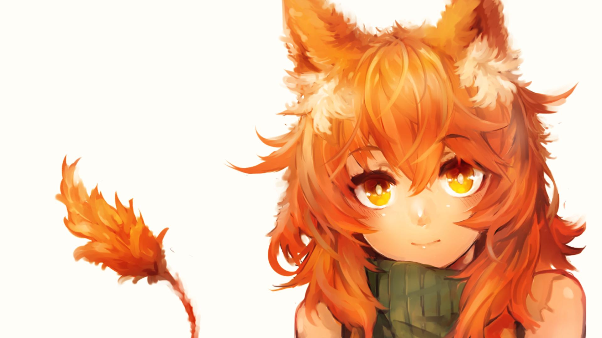 Anime Fox Girls Orange Eyes Orange Hair Wallpaper No 176909 Anime Orange Cat Girl Animal Ears