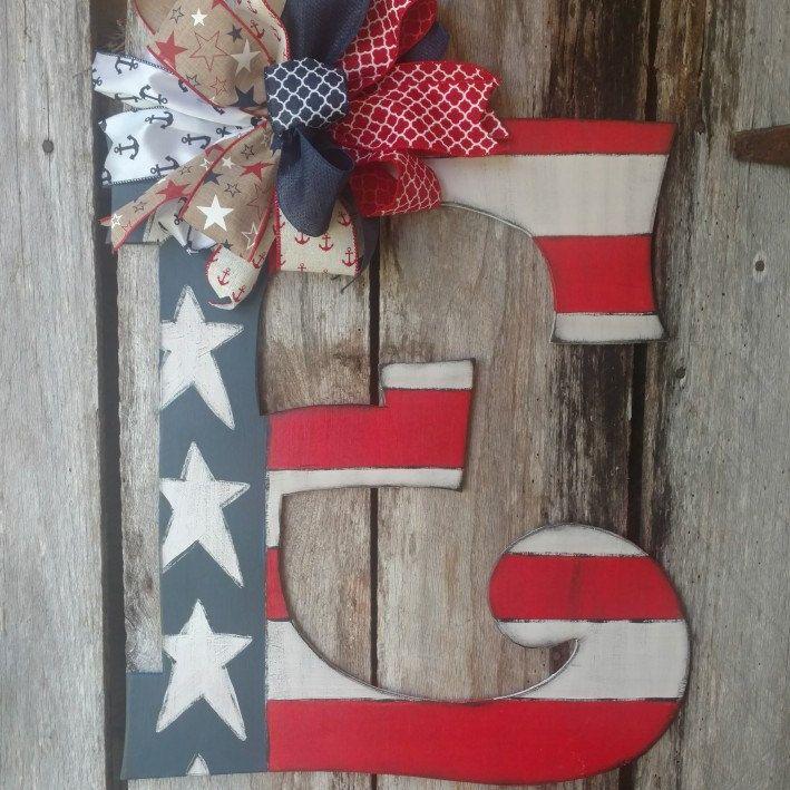 American Flag Monogram Letter Door Hanger Patriotic Door Hanger American Flag Monogram