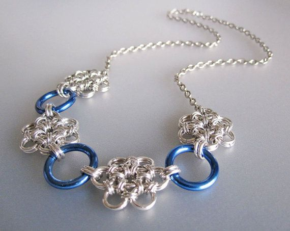 Handmade ~ Blue Daisy Chainmaille Necklace