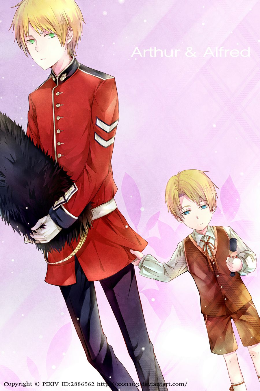 APH---Arthur and Alfred by zxs1103.deviantart.com on @deviantART - This isn't entirely historically accurate, I know - the bearskin caps weren't adopted by the British until after the American Revolution. But whatever - it's cute, especially once you notice that Alfred's holding one of his toy soldiers :)
