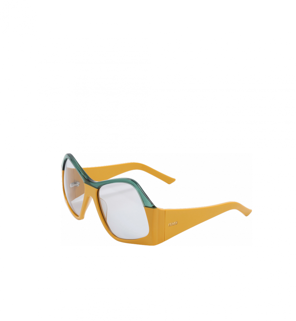 f353512a090 Handmade geometric sunglasses by Fendi. 2 toned brings a playful and bold  aspect.