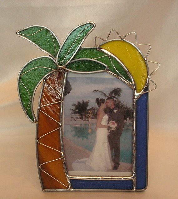 Palm Tree Picture Frame In Stained Glass By Serendipityglasswrks