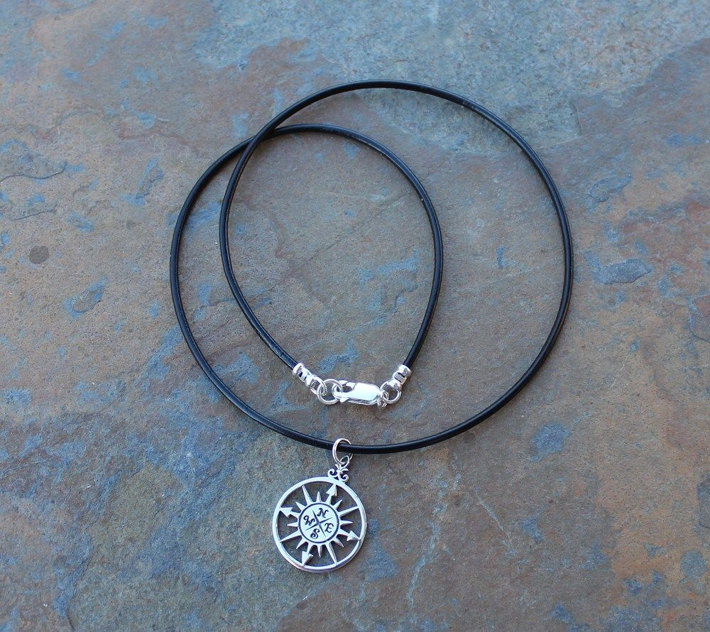 True North Necklace- Sterling Silver Compass Rose, Black Leather Cord | NightOwlJewelry - Jewelry on ArtFire