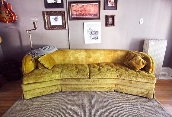 Vintage Gold Yellow Curbed Velvet Sofa Couch By Thefeelingofhome 2500 00 Gold Sofa Retro Couch