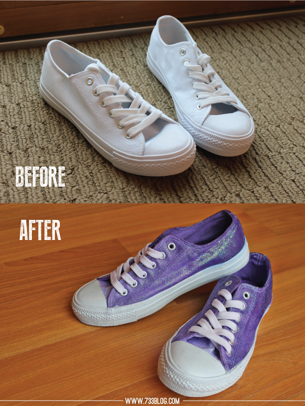 DIY Dip Dyed \u0026 Glitter Shoes | How to
