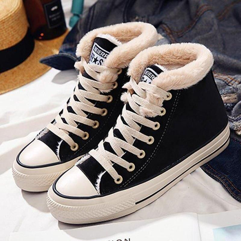 Womens Flat Canvas Snow Sneakers in