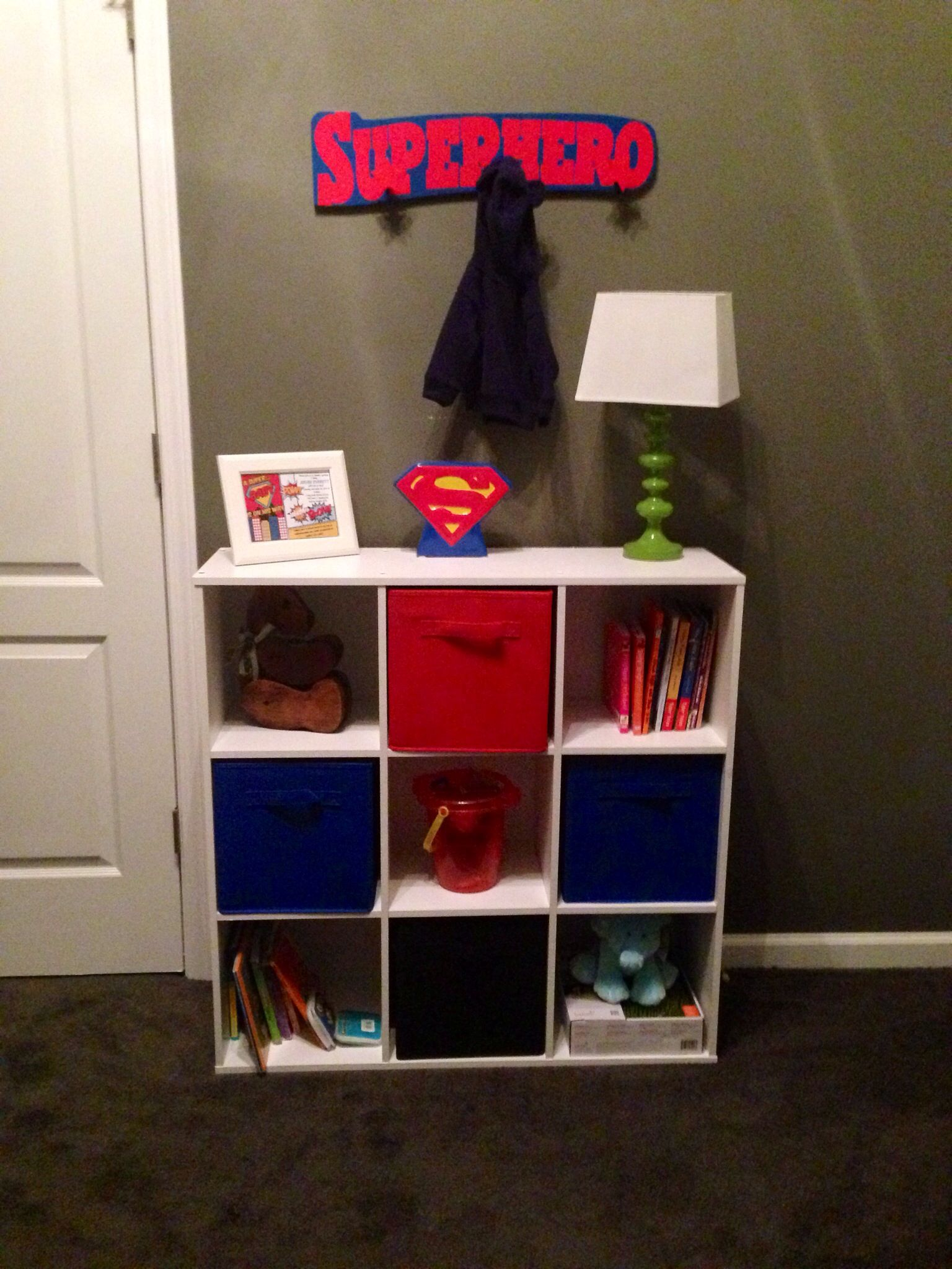 storage shelf and containers from target superhero coat rack from tjmaxx
