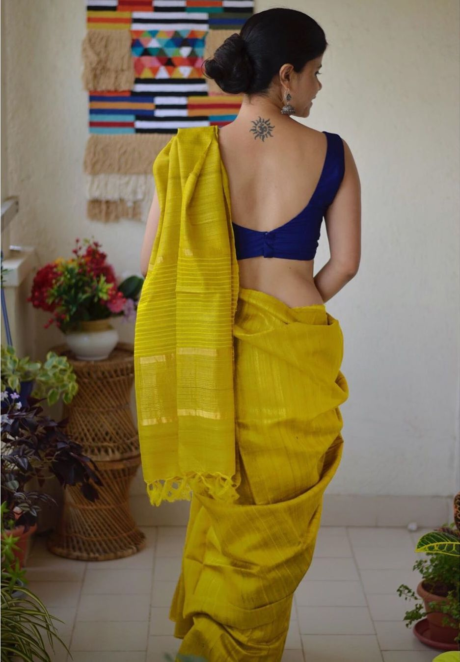 Mustard chakori ethnic saree