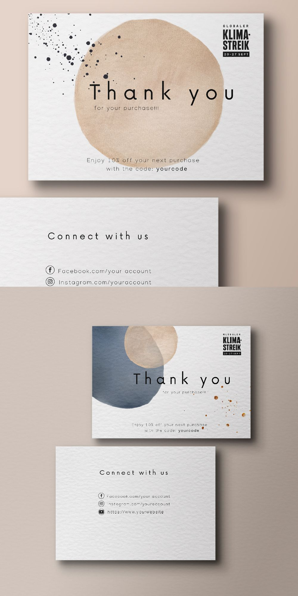 Organic Thank You For Your Order Cards Business Stationery Business Card Th Graphic Design Business Card Business Card Design Creative Thank You Card Design