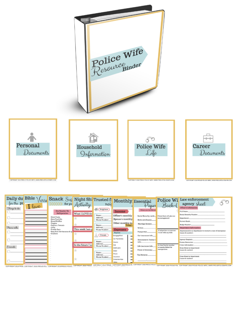 Police Wife Resource Binder Police Wife Law Enforcement Family Emergency Binder