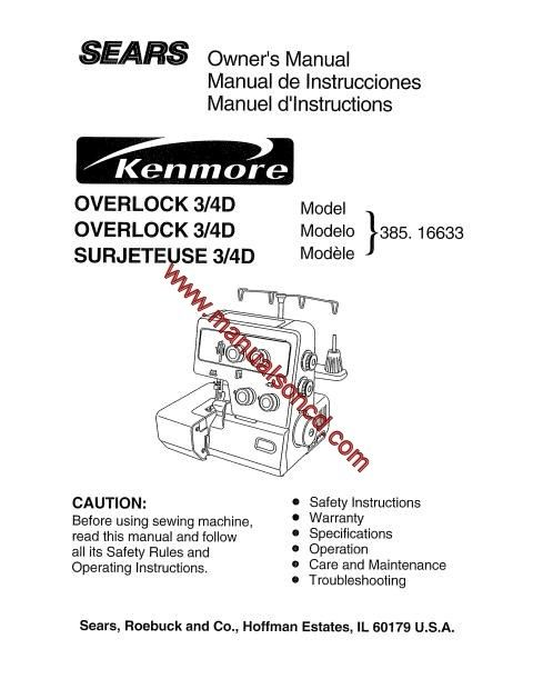 Kenmore model 38516633 overlock sewing machine manual pinterest sears kenmore overlock 34d instruction and owners manual covers model 16633 38516633 95 page manual here are just a few examples of whats included in solutioingenieria Image collections