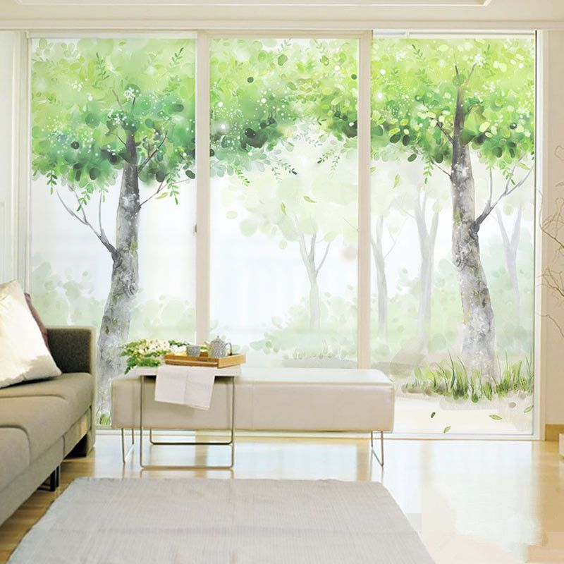 Custom Decorative Window Film white birch tree forest frosting frosted window film 24h privacy