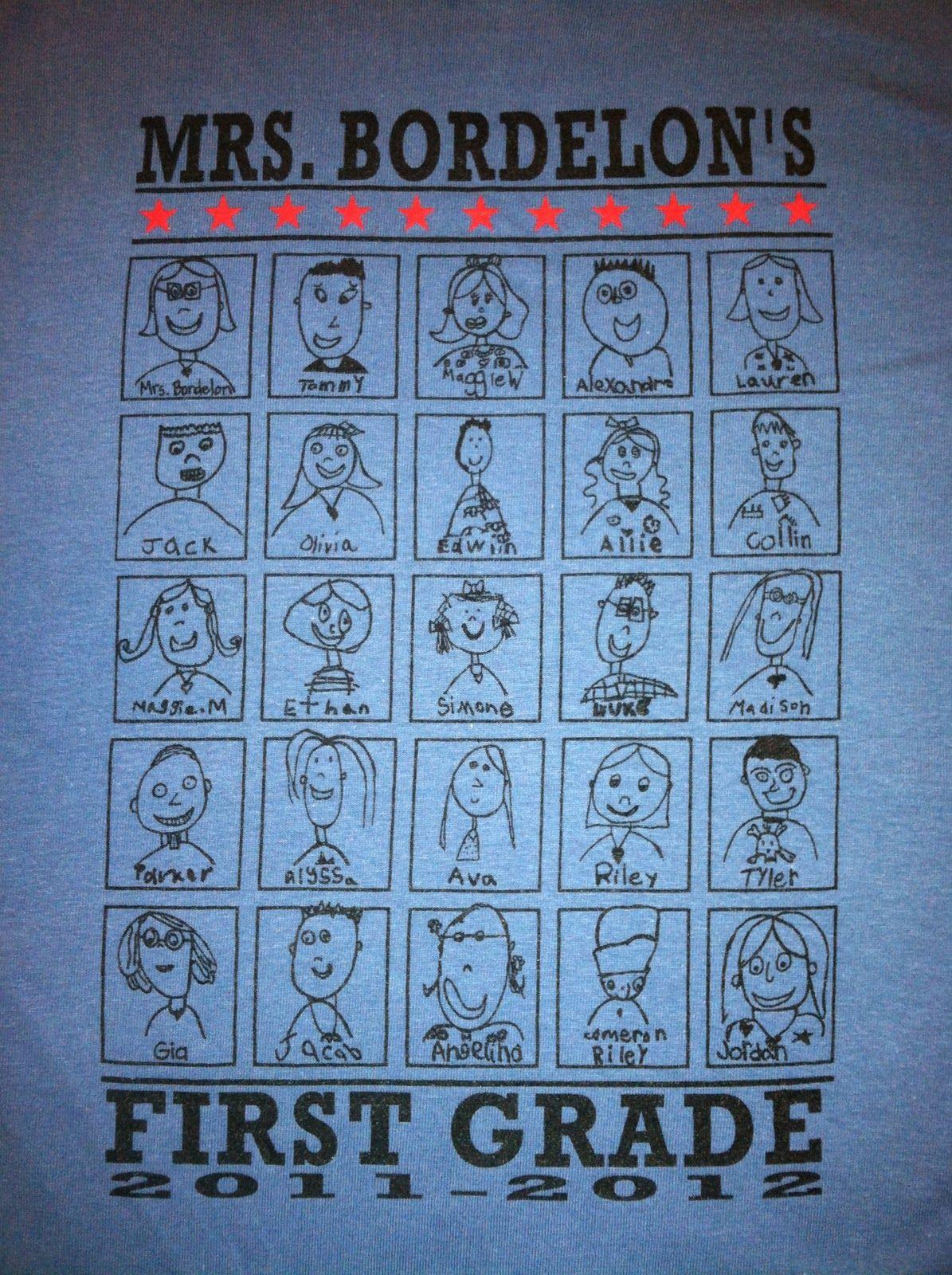 Cutest class shirt ever. Each kid drew their own portrait. LOVE Love ...