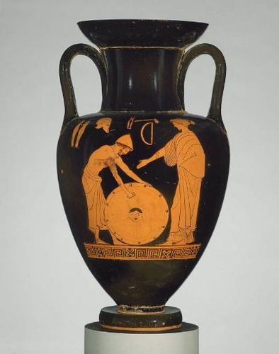 Two-handled amphora depicting Hephaistos polishing the shield of Achilles, Thetis overlooking. Greek, Early Classical Period, about 480 B.C.