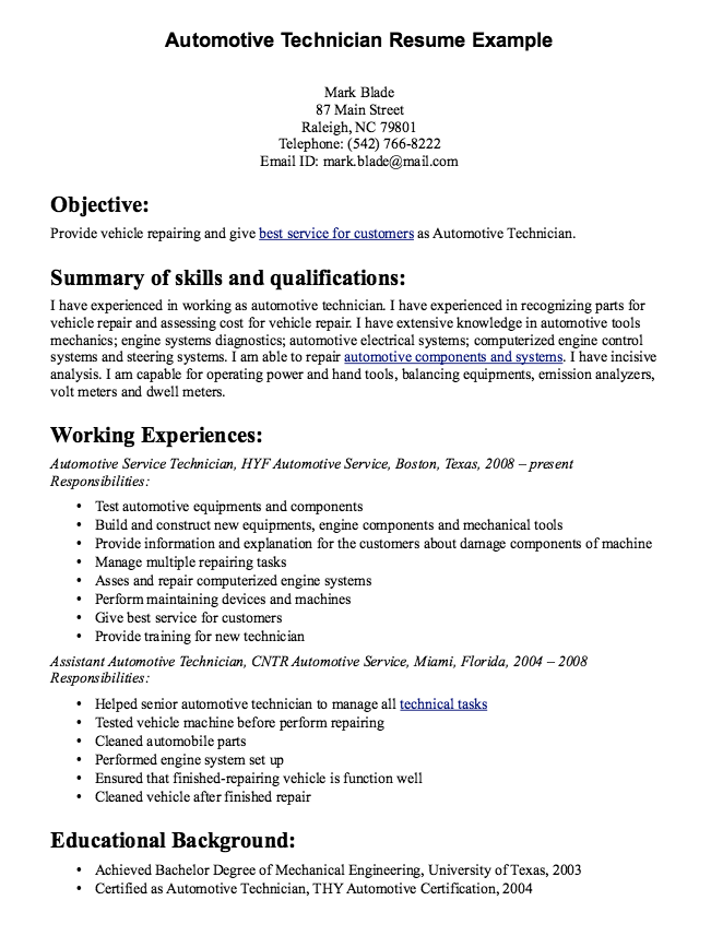 Automotive Technician Resume Sample Resumes Design Examples Heavy