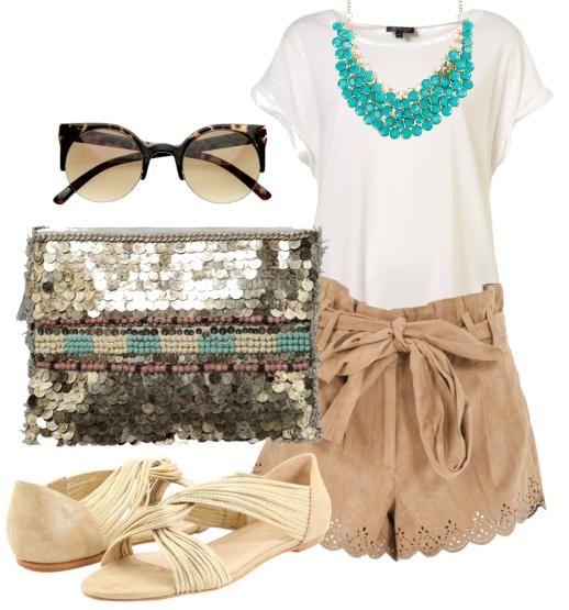 Bow shorts, turquoise necklace