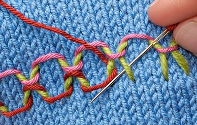 Embroidery knitting masterclass part 4 by Jane Crowfoot. How to make the Interlacing Stitch, Couching and Lock Stitch.