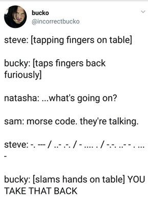 Stucky Tumblr 10 10 Headcanon But Nat Would So Know What That Means So I Vote To Replace Nat With Clint Cause What Avengers Funny Marvel Jokes Marvel Funny
