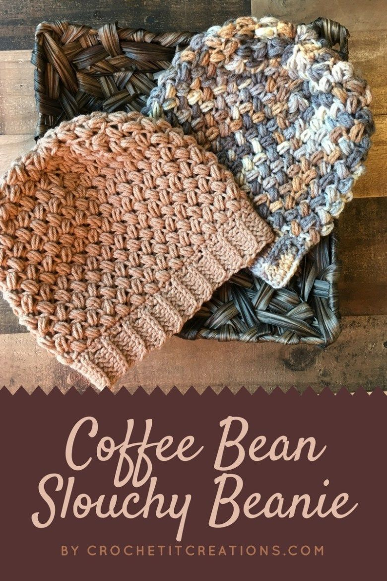 Coffee Bean Slouchy Beanie Crochet Pattern by | Crochet and Knitting ...