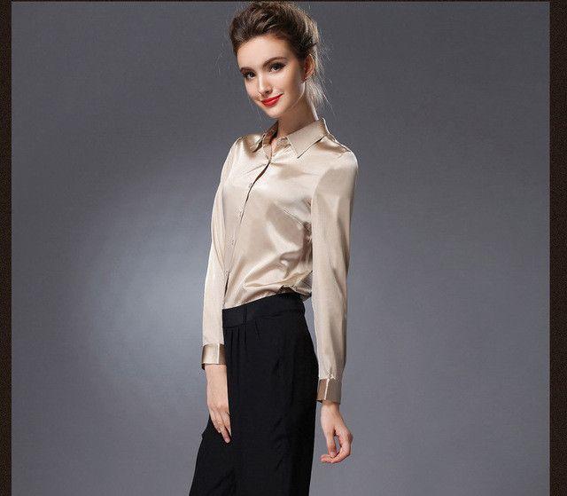 Pure Mulberry SILK blouse Women long sleeve shirt