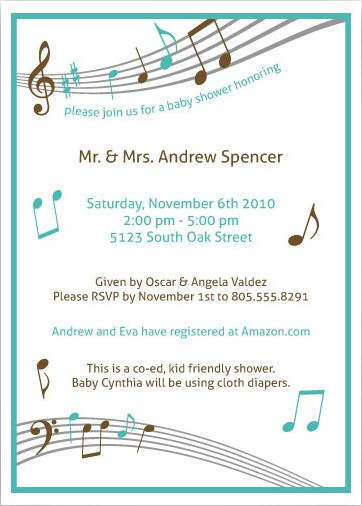 Turquoise Chocolate Brown Gray Music Themed Baby Shower Invitation