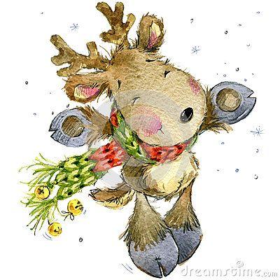 Смешные олени Санта Клаус изображение иллюстрации летания клюва декоративное своя бумажная акварель ласточки части