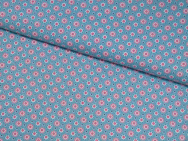 Stoff Blumen - Baumwolle Mini Blümchen blau Poppy Design - ein Designerstück von…