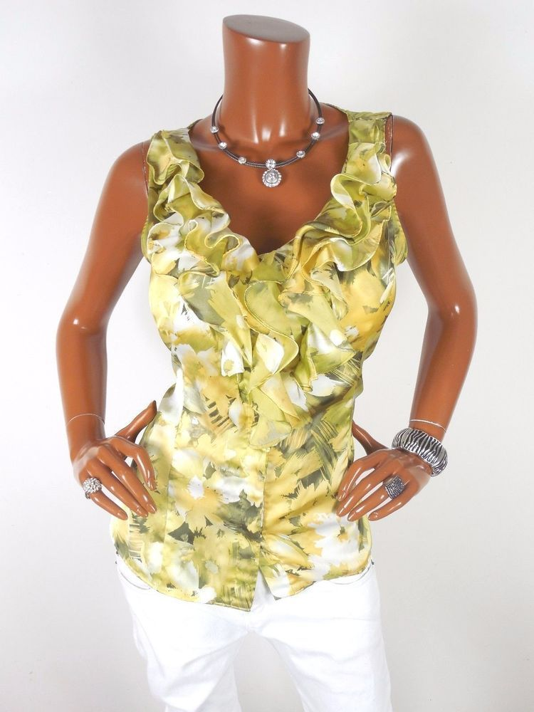 4449c035490 ANN KLEIN Womens Top M Sleeveless Summer Blouse Casual Shirt Yellow Green  Ruffle