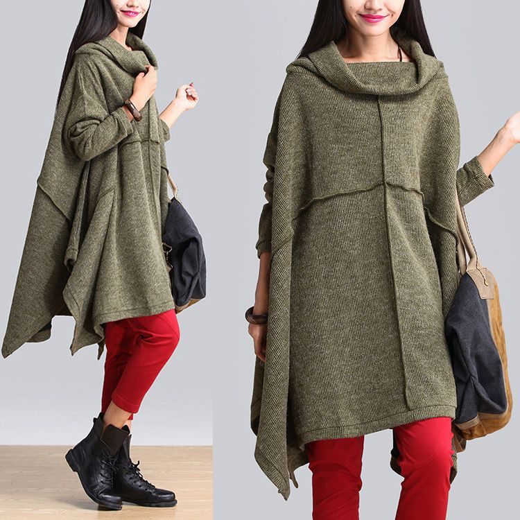 Find More   Information about Autumn 2014 Vintage Knitted Loose Waist Plus Size Patchwork 100% Cotton Green Dress Aliexpress.com
