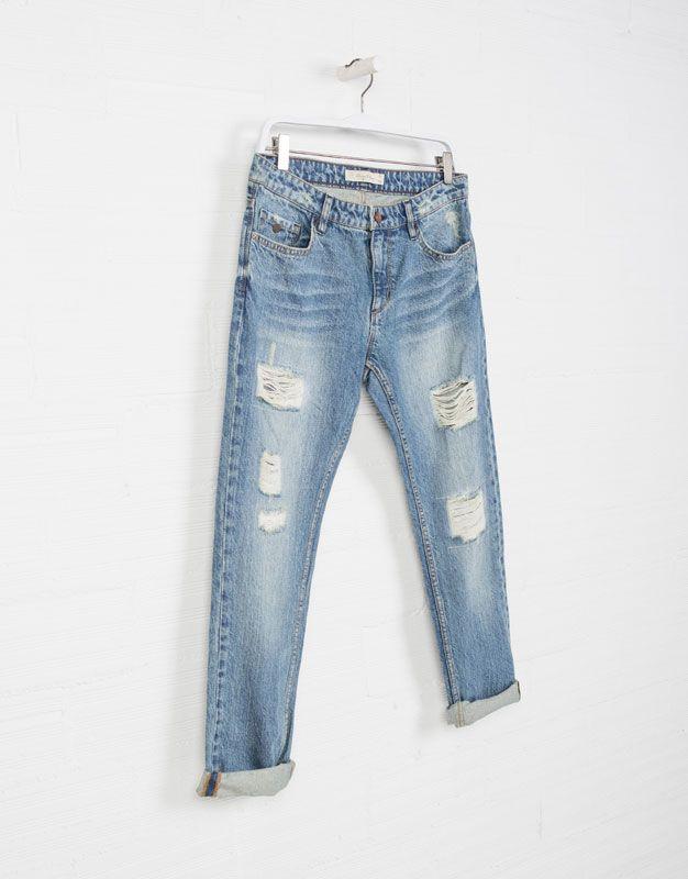 Photo of PANTALÓN DENIM BOYFRIEND DETALLES ROTOS – Jeans – COLECCIÓN – DONNA – | Lefties España