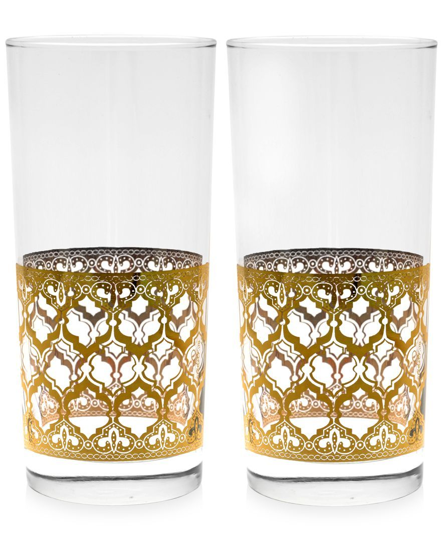 Valencia Gold 22k Highball Glasses, Set of 2