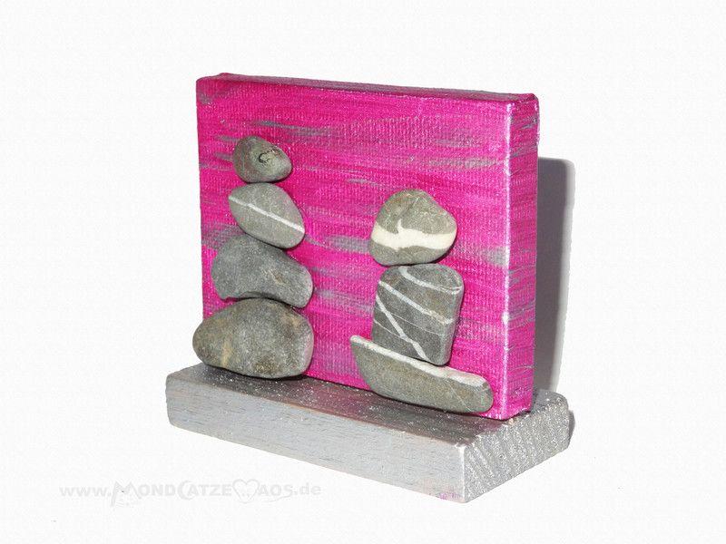 Collagen - kleines Steinbild, Steintürme, pink, Meditation - ein Designerstück von Mondcatze-and-Maos bei DaWanda