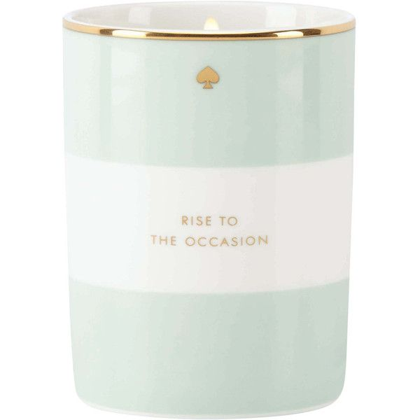 kate spade new york Rise to the Occasion Scented Candle - 294g (515 SEK) ❤ liked on Polyvore featuring home, home decor, candles & candleholders, blue, kate spade home decor, wax candles, striped candles, blue candle and fragrance candles