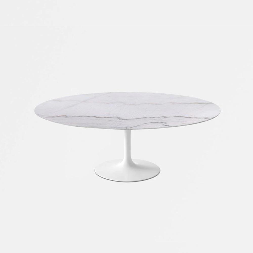 Calacatta Gold Saarinen Oval Dining Table Reproduction Tulip Table In 2020 Tulip Dining Table Round Marble Dining Table Oval Tulip Dining Table