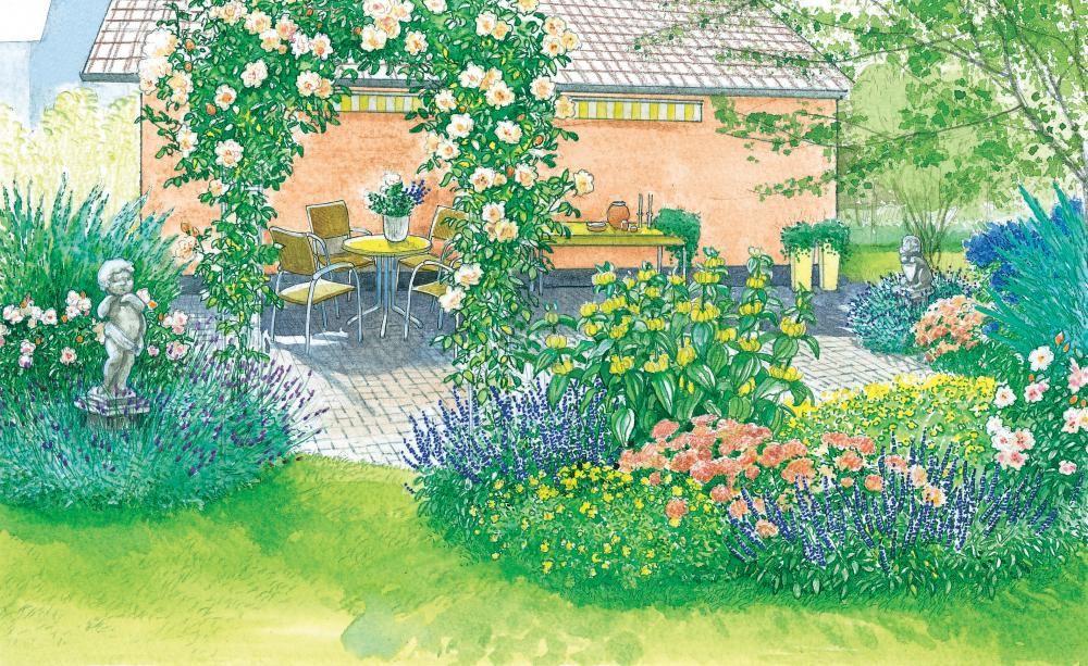 Ein Blütenrahmen für den Pflasterplatz Landscaping Pinterest - reihenhausgarten vorher nachher