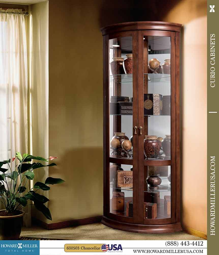 Howard Miller Contemporary Curve Cherry Corner Display Cabinet 680503 Corner Cabinet Curio Cabinet Decor Curio Cabinet