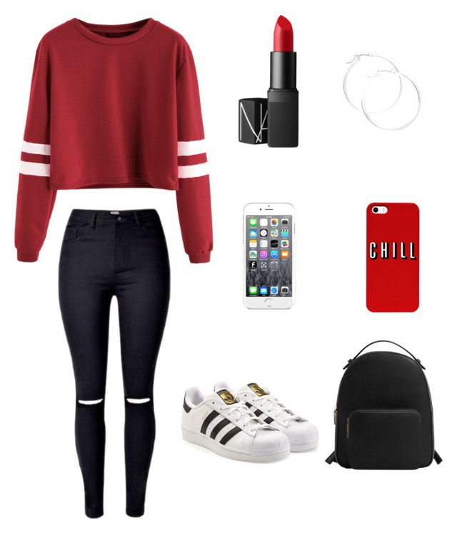 """Untitled #2"" by raquelfiliparamossousa ❤ liked on Polyvore featuring beauty, NARS Cosmetics, adidas Originals, Maison Kitsuné, claire's and MANGO"