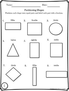 Partitioning Shapes Practice Freebie Shapes Worksheets Geometry Worksheets Shape Worksheets For Preschool
